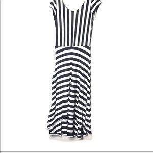 Gap high low navy/ white striped dress